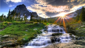 Beautiful Landscape Waterfall 1366x768 Wallpaper