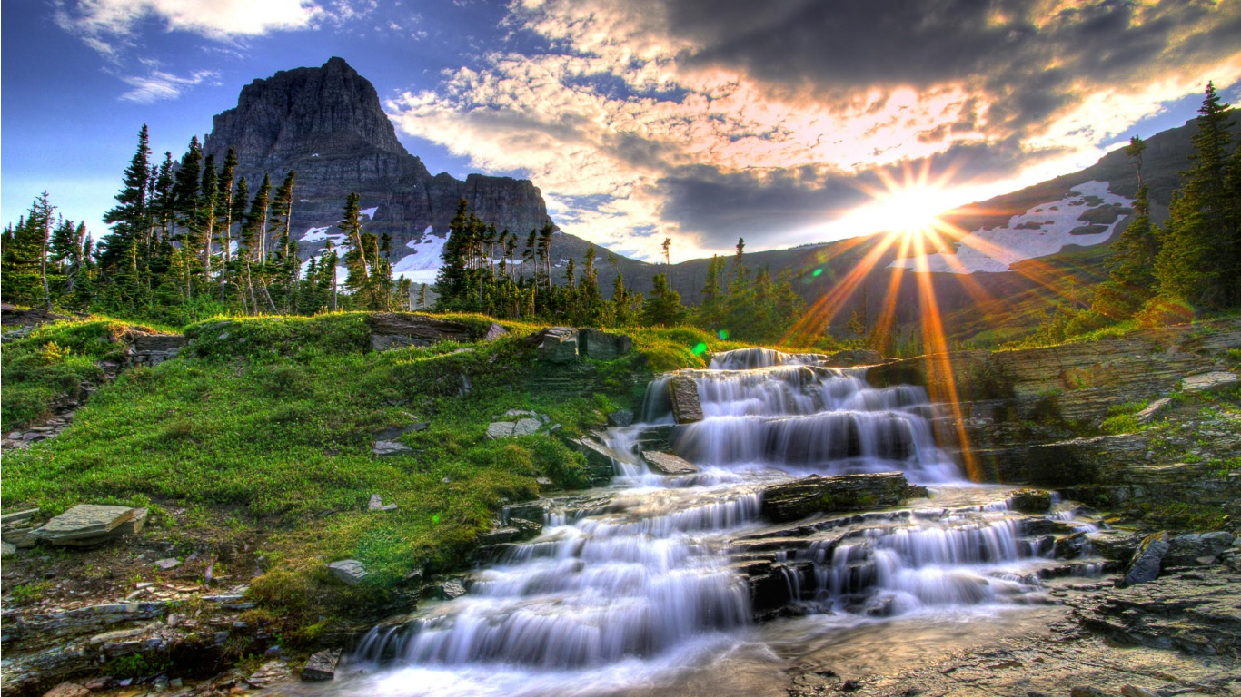 Beautiful Landscape Waterfall 1366×768 Wallpaper