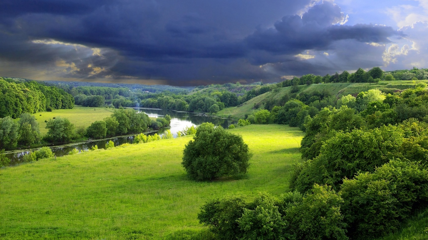 Green Landscape Wallpaper 1366×768