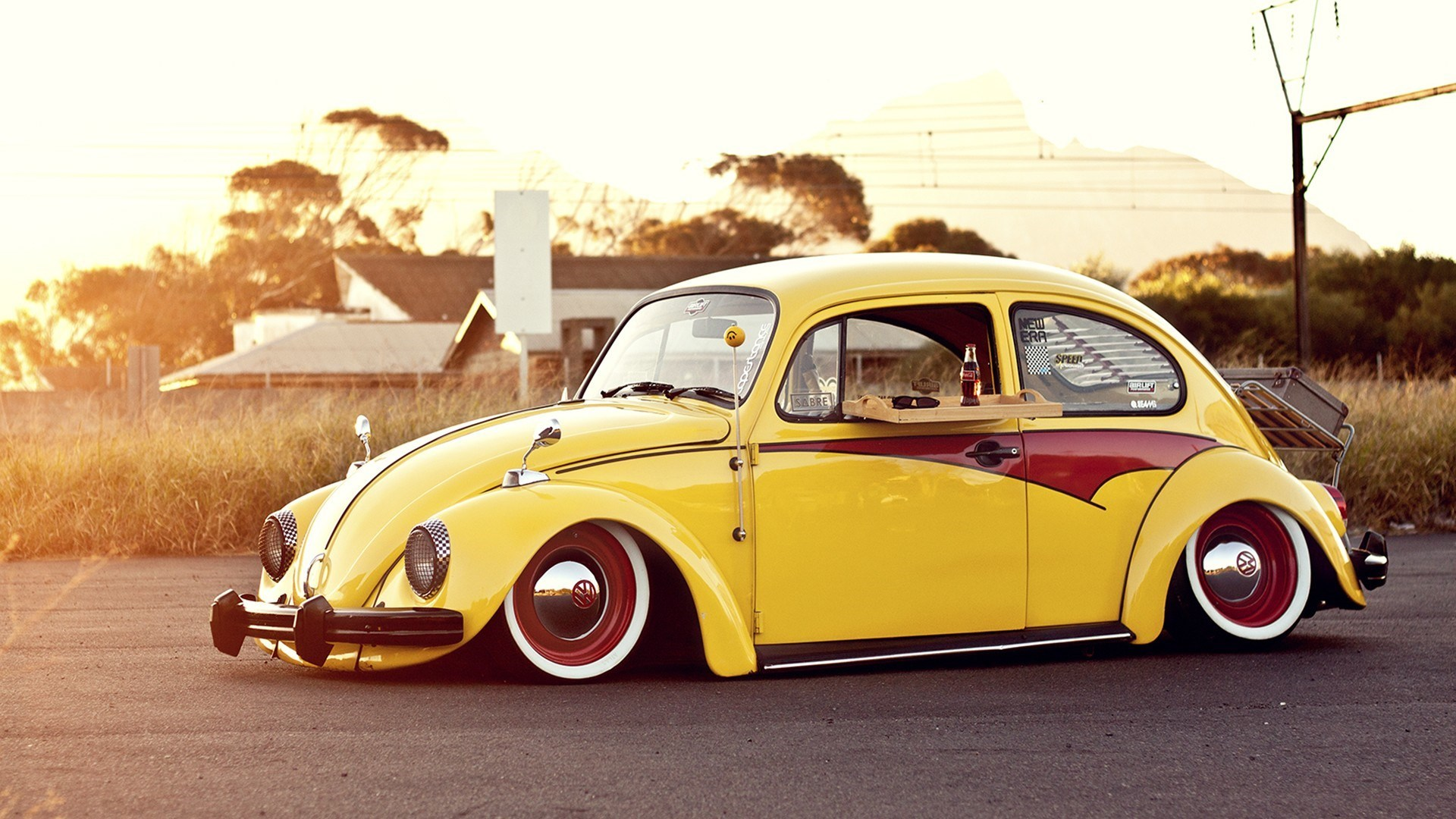 Volkswagen Beetle Yellow Muscle Cars Wallpaper