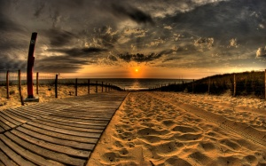 Beach Sunset Widescreen HD Wallpaper