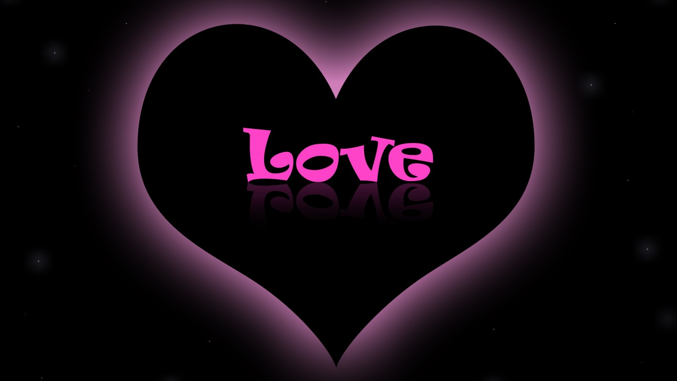 Pink Love Wallpaper Black Background