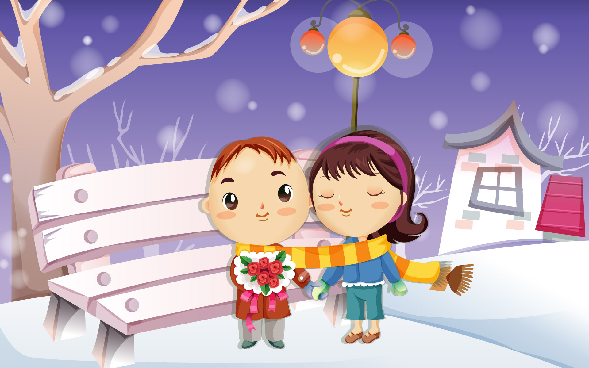 Romantic Cartoons Wallpaper love