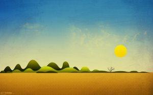 Simple Sun Landscape Art Wallpaper