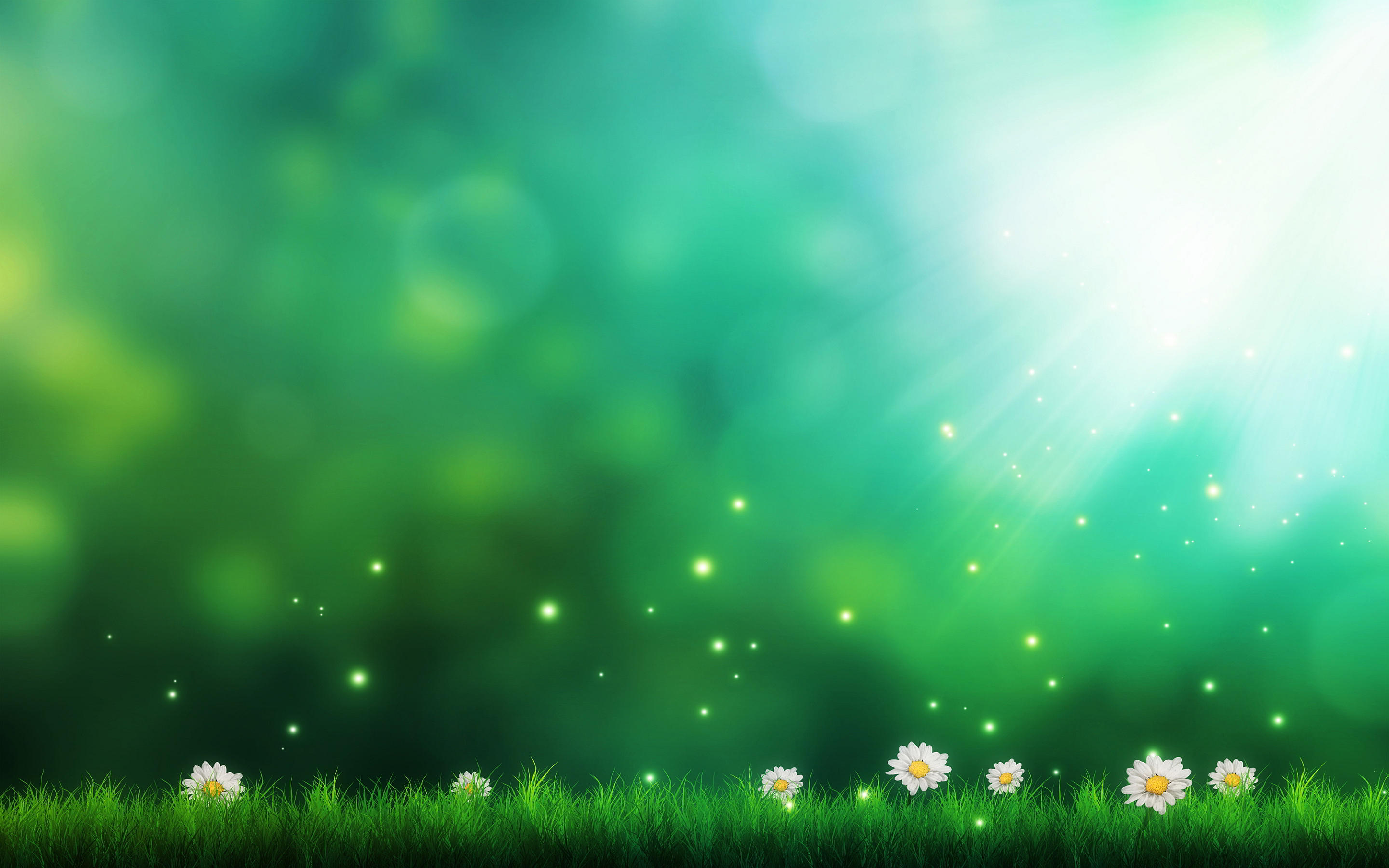 Green Background Flowers HD