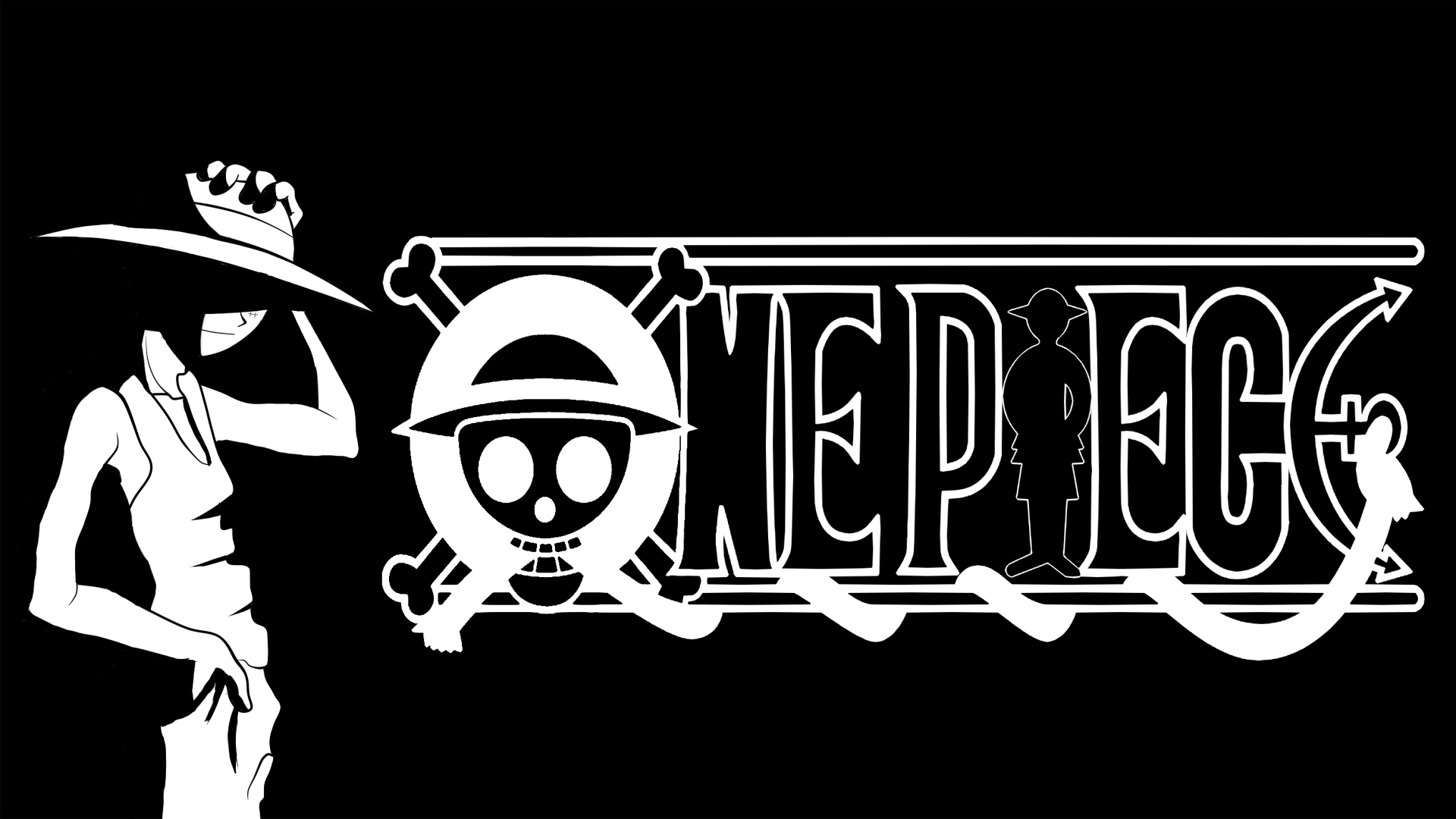 One Piece Black And White Background #5886 Wallpaper ...