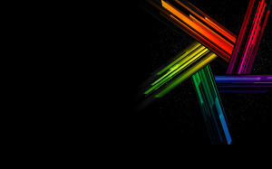 Rainbow Star Black Background