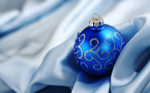 Blue Ball Decoration Wallpaper Christmas