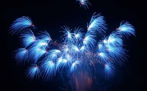 Fireworks Blue Wallpaper HD