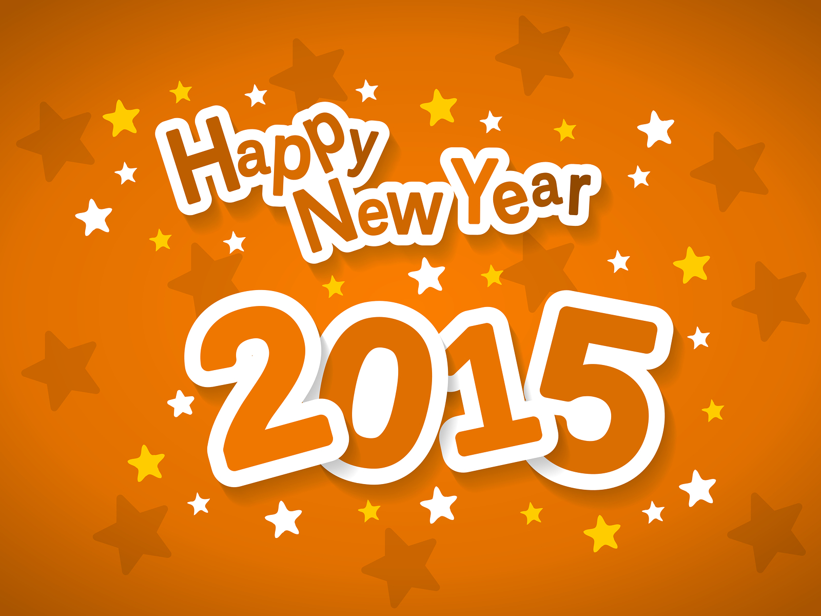 Happy New Year 2015 Orange Wallpaper