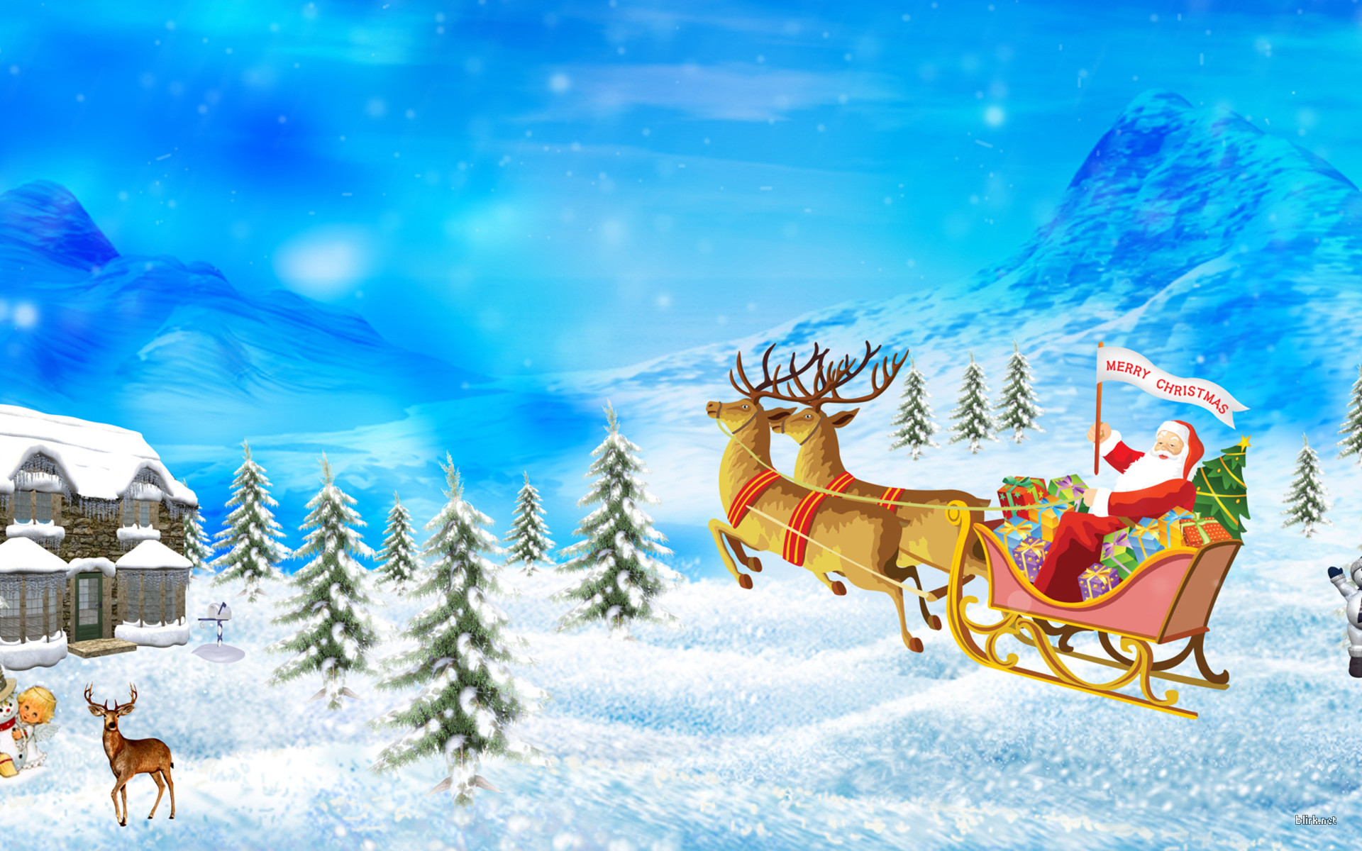 Santa Claus Merry Christmas Wallpaper Design Cartoons