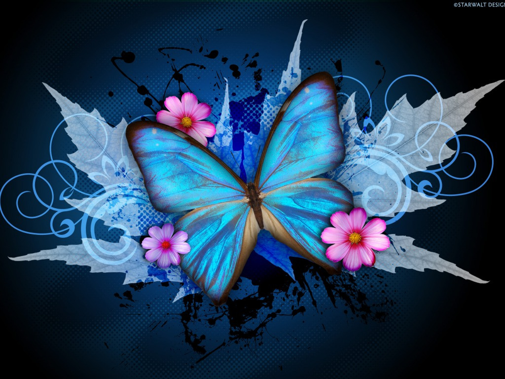 butterfly blue abstract wallpaper - photo #1