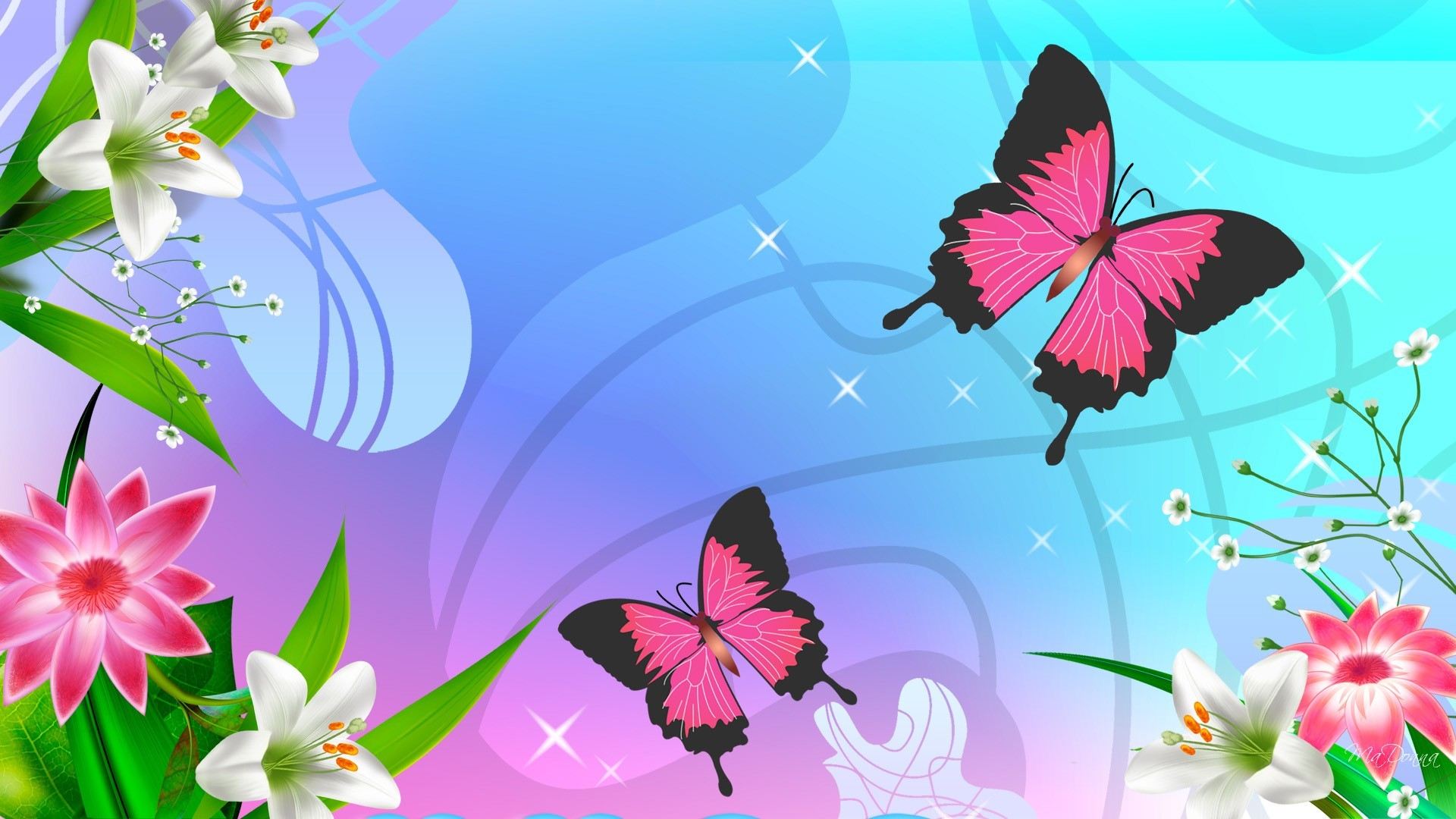 Butterfly Cartoons Wallpaper 11010 Wallpaper  WallDiskPaper