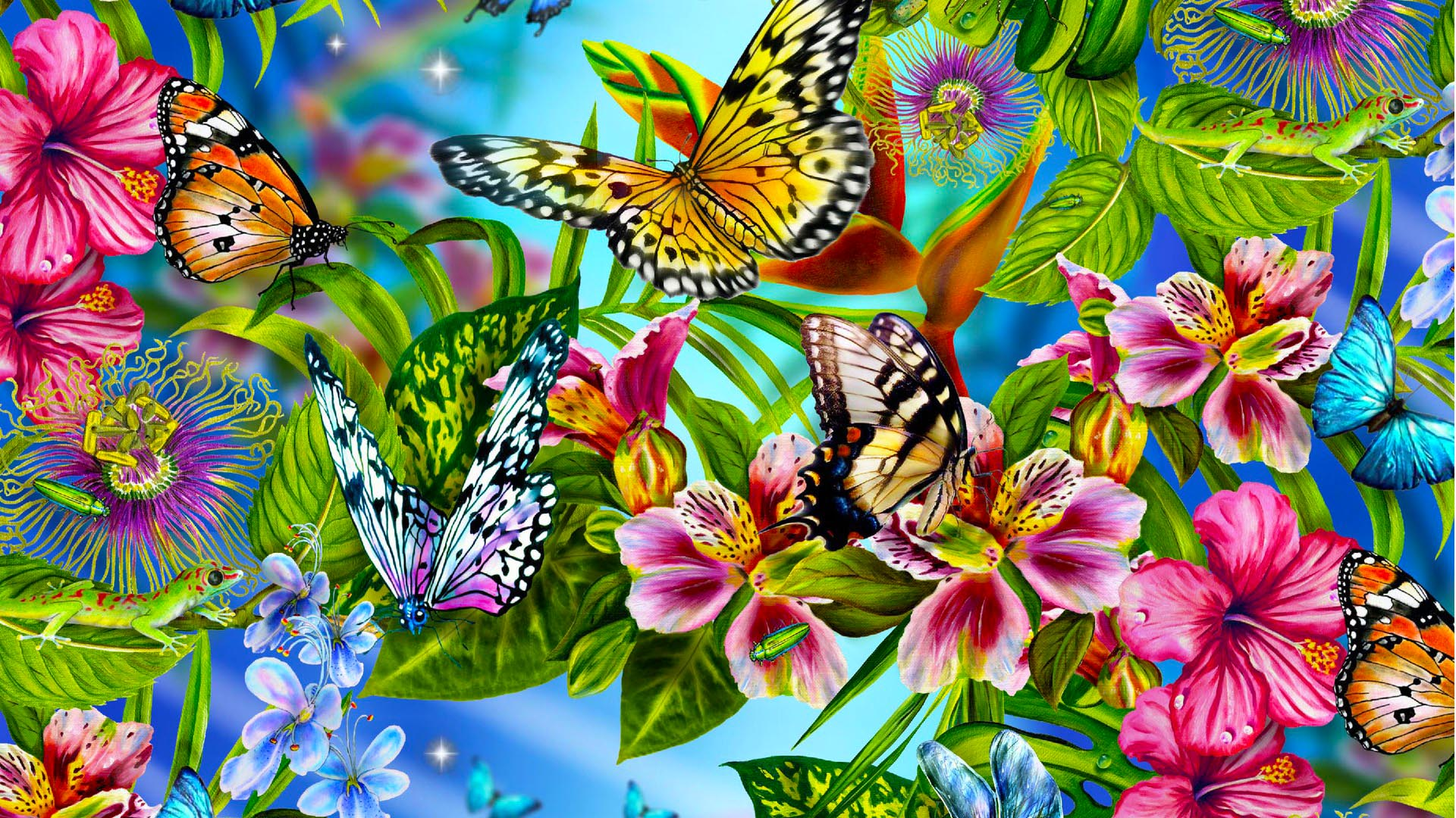 Butterfly Wallpaper Leaves Colourful