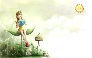 Cartoon Cute Wallpaper Laptop Green