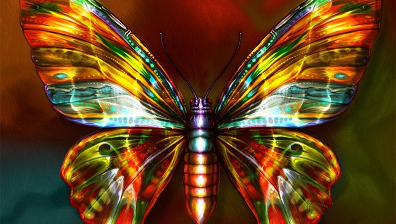 Neon Gold Butterfly Wallpaper