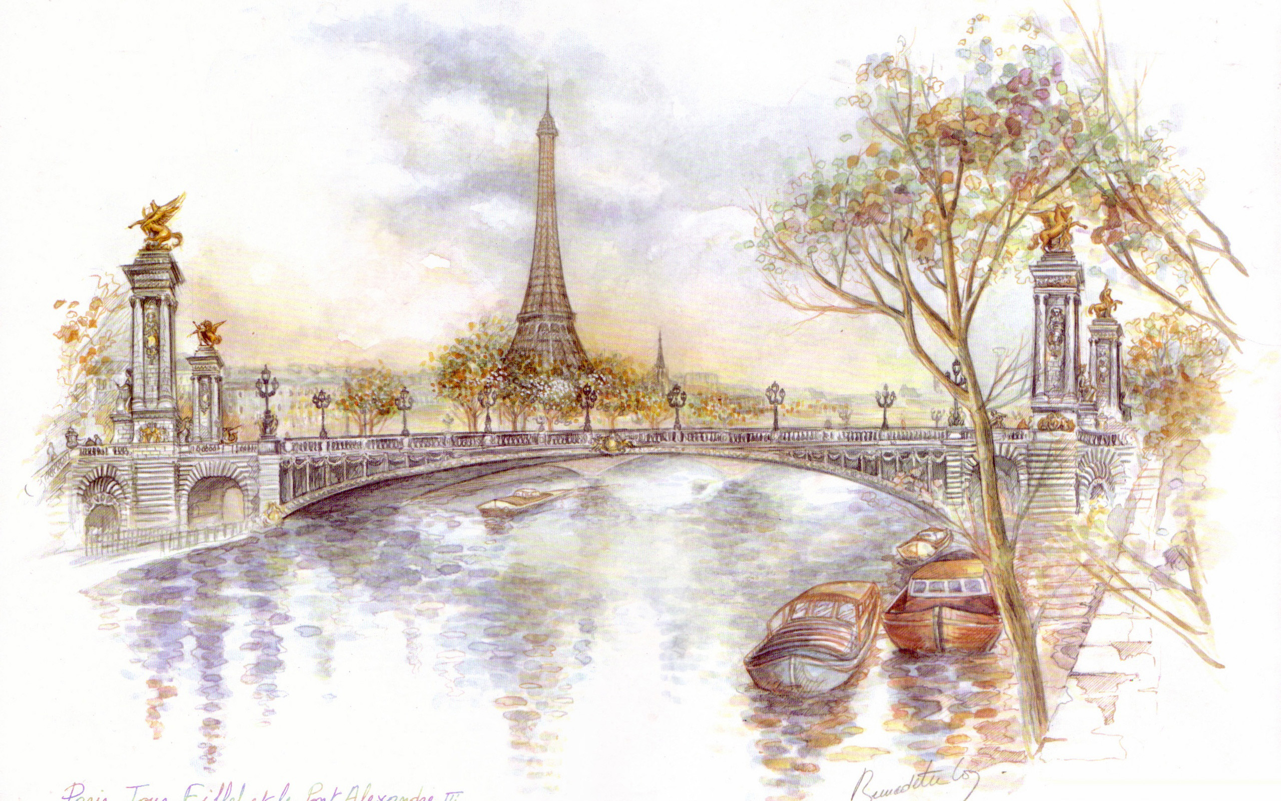 Paris Wallpaper Drawing Art Eiffel #12891 Wallpaper ...
