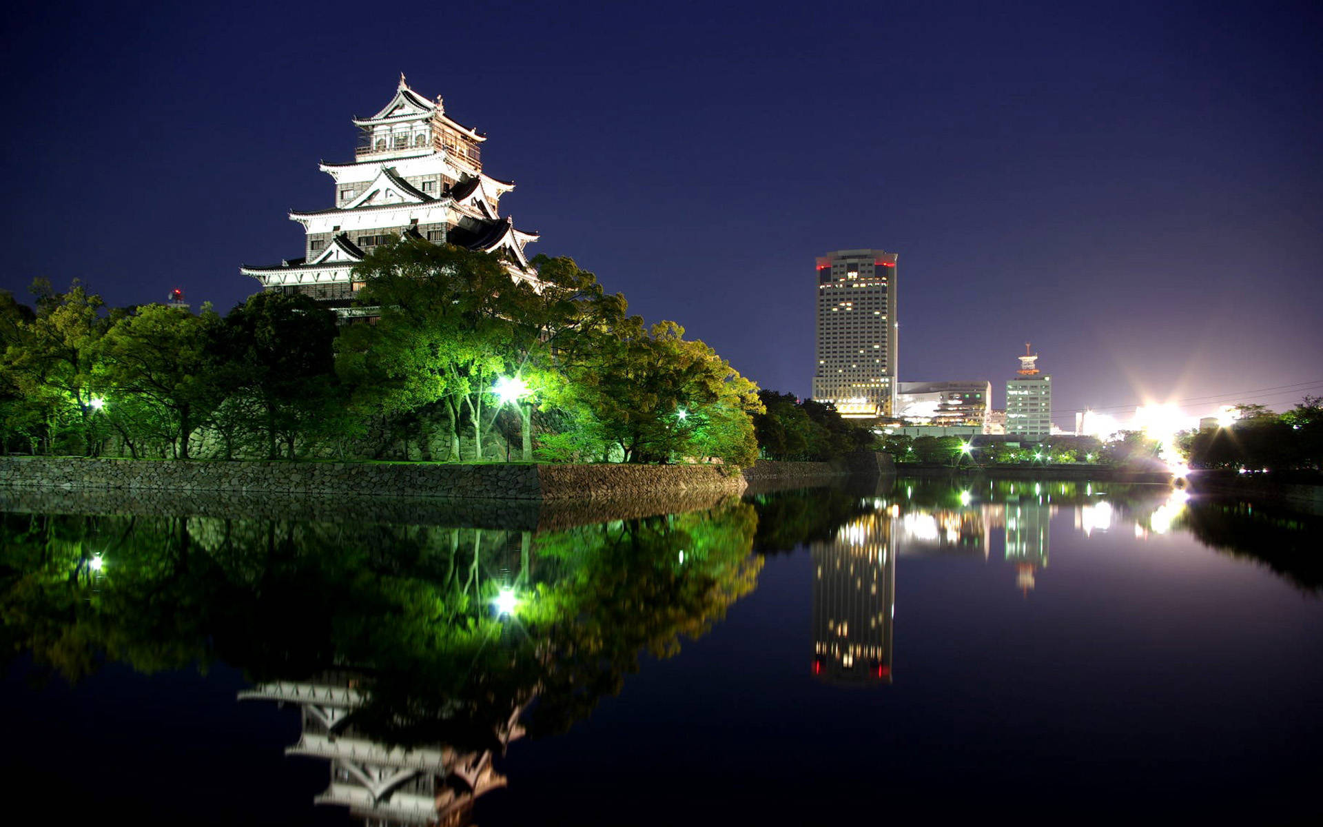 Hiroshima Japan City Wallpaper Night