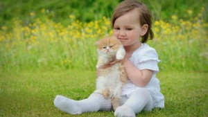 Baby And Cat Wallpaper