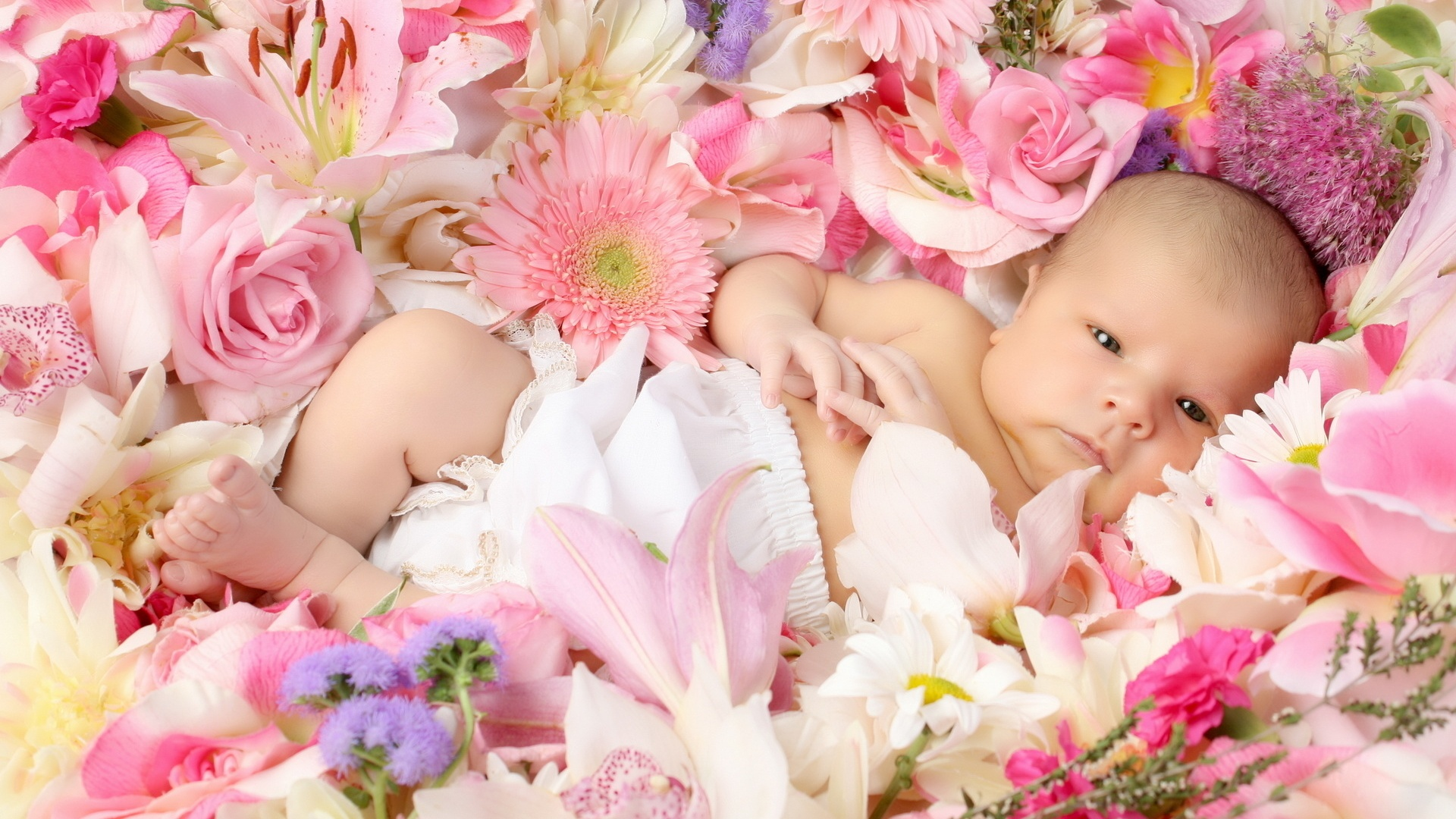 Baby With Flower Wallpaper