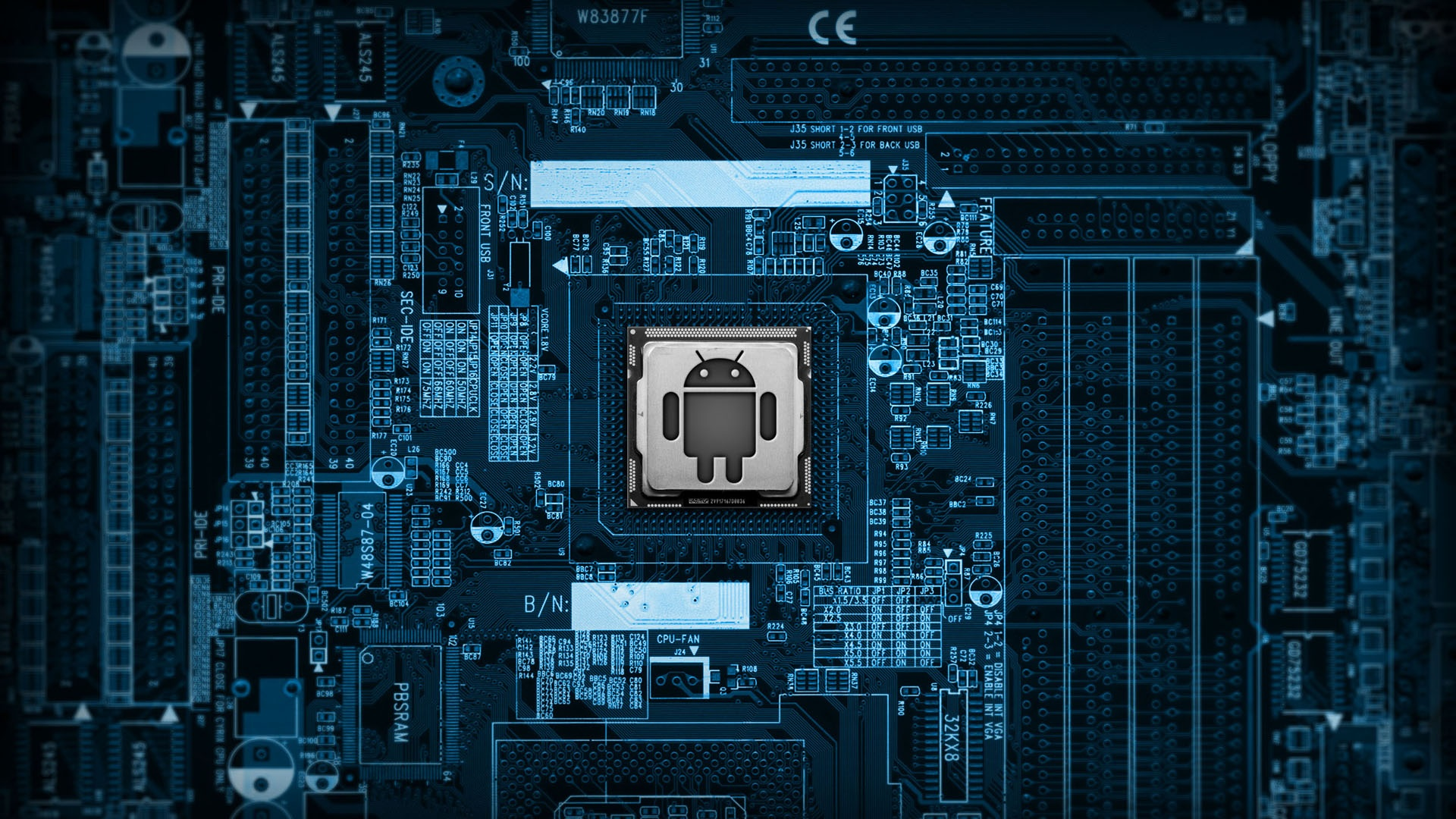 Blue Processor Android Wallpaper