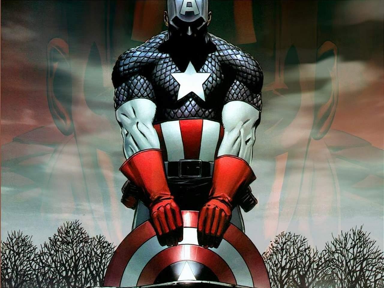 Captain America Cover Cartoon Wallpaper