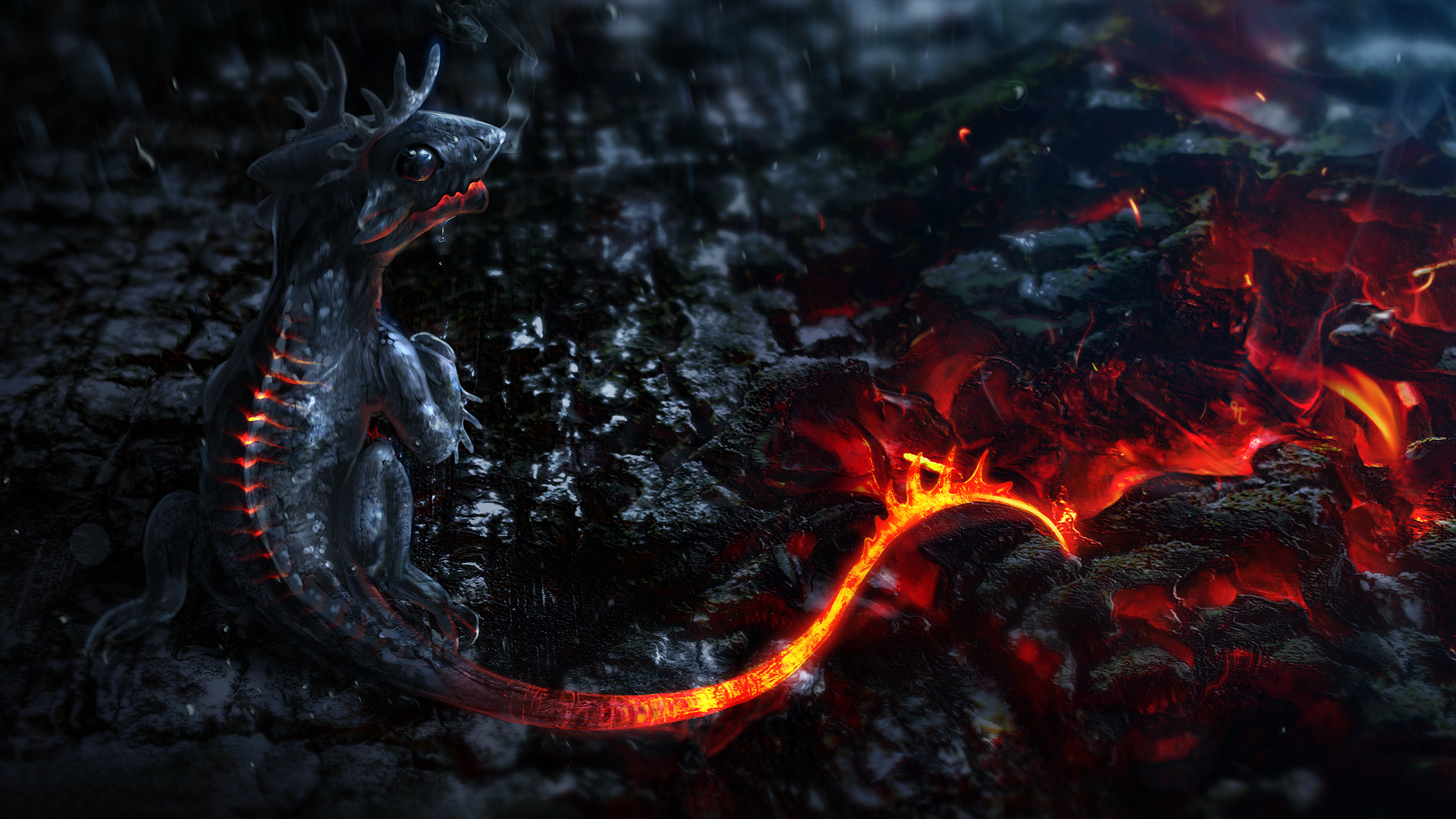 Dragon Red 3D Wallpaper 1920×1080