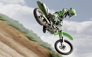 Green Motocross Jump Extreme Sports Wallpaper