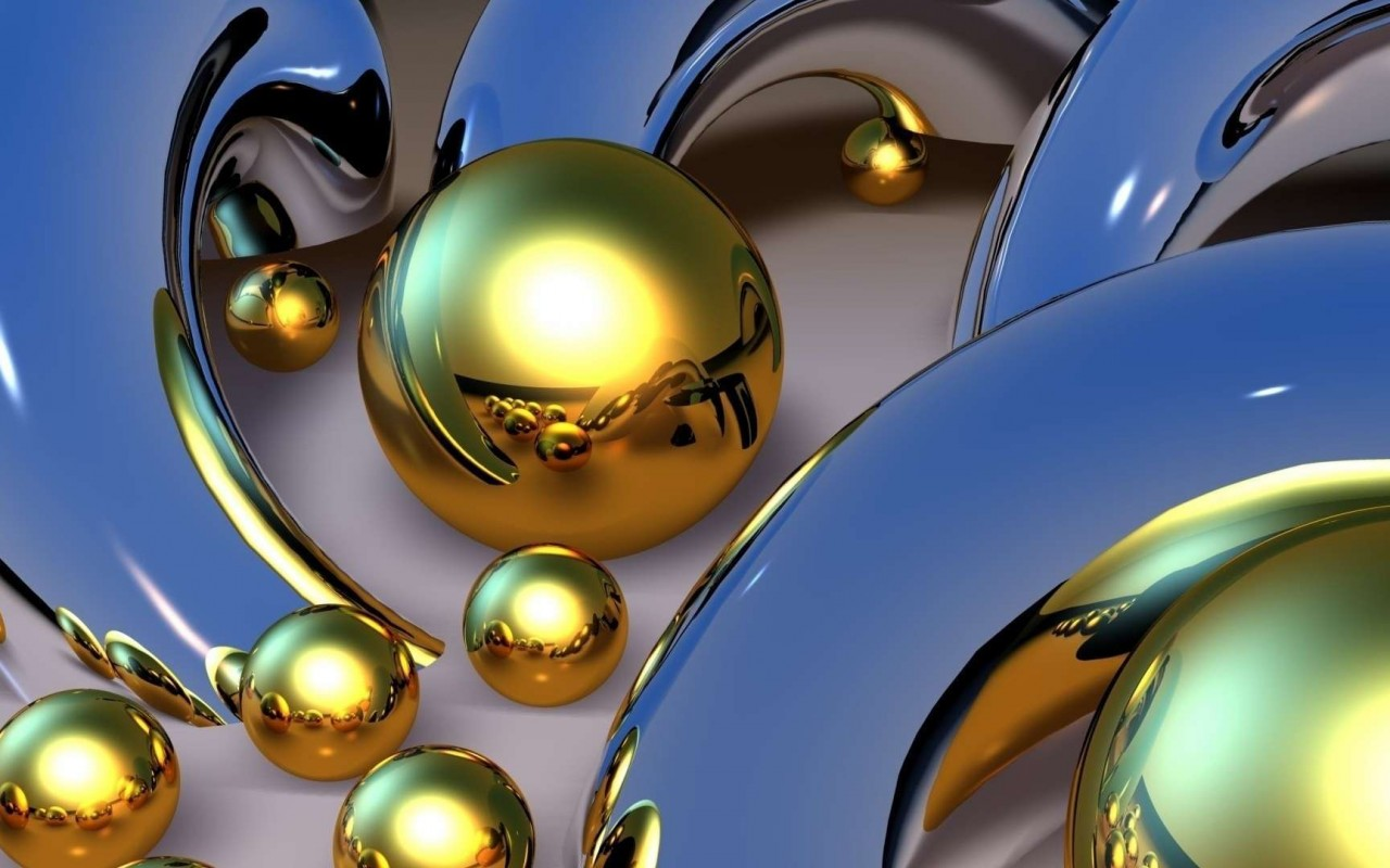 Gold balls 3d wallpaper 16379 wallpaper walldiskpaper for Gold 3d wallpaper