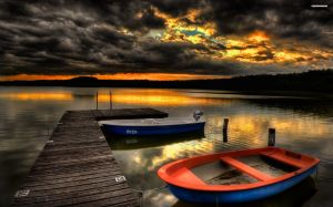 Lake Landscape With Sunset Wallpaper
