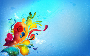 Blue Abstract Flowers Wallpaper