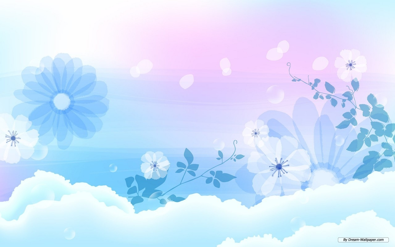 Blue Soft Flowers Wallpaper