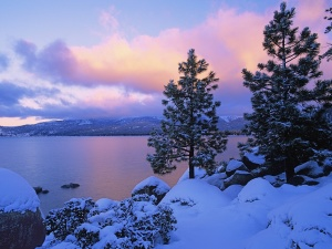 Lake And Snow Wallpaper Landscape