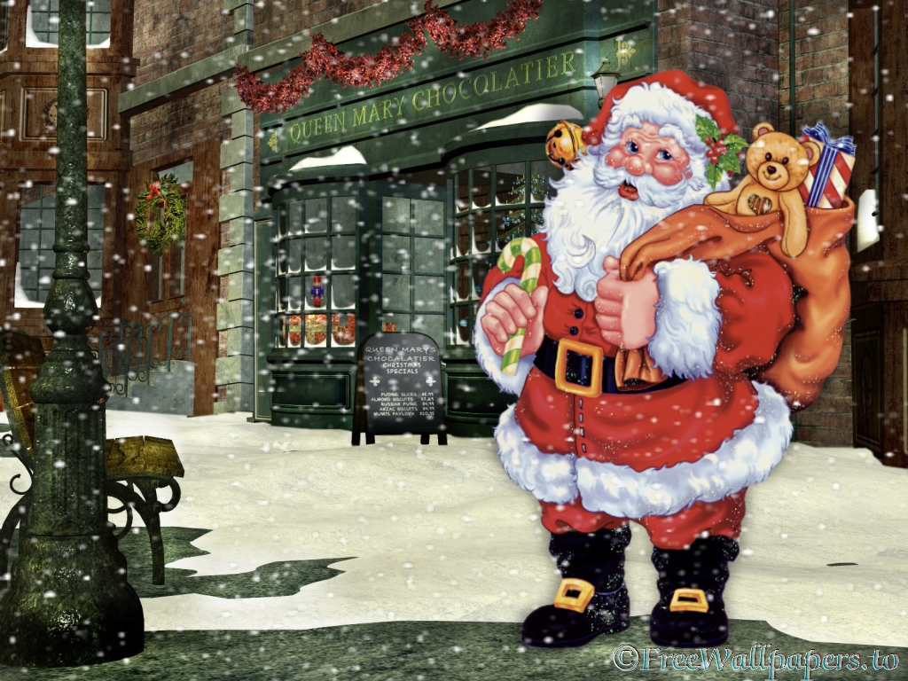 Santa In Town Wallpaper HD