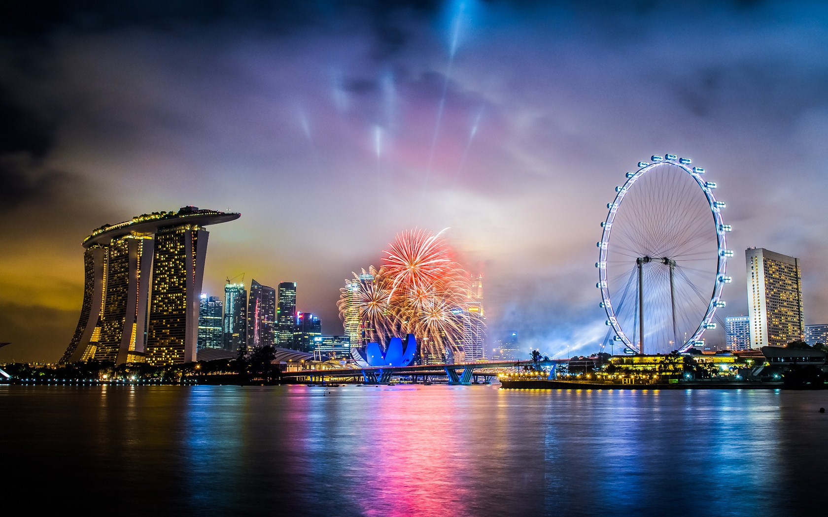 Singapore Fireworks Happy New Year Wallpaper