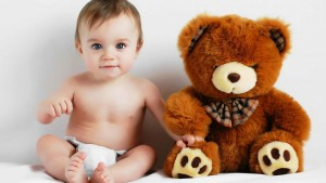 Cute Teddy And Baby Wallpaper