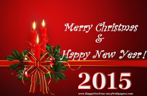 Happy New Years Merry Christmas Red Background