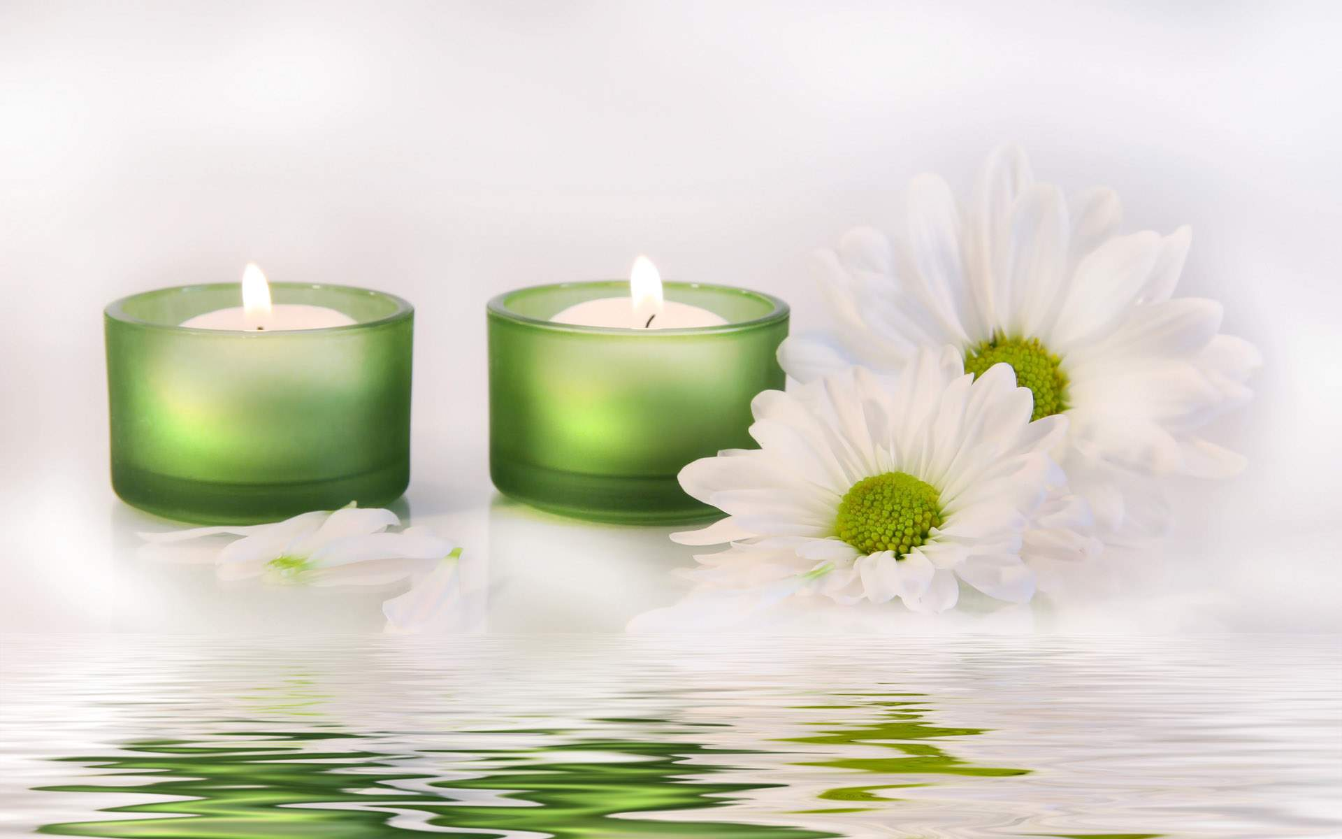 White Flower Candle Wallpaper